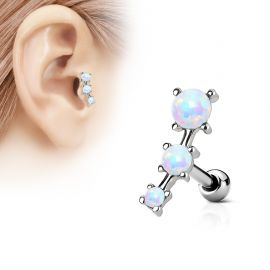 Piercing cartilage trois opale blanches