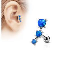 Piercing cartilage trois opale bleues