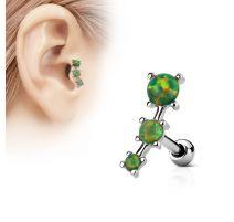 Piercing cartilage trois opale vertes
