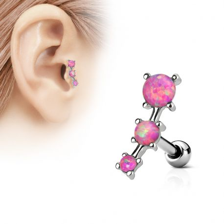 Piercing cartilage trois opale roses