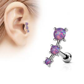Piercing cartilage trois opale violettes