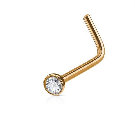 Piercing nez tige L or rose crystal