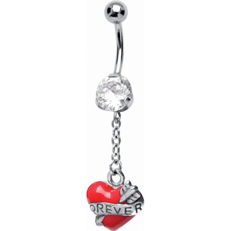 Piercing nombril coeur de cupidon