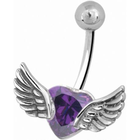 Piercing nombril coeur ailé violet