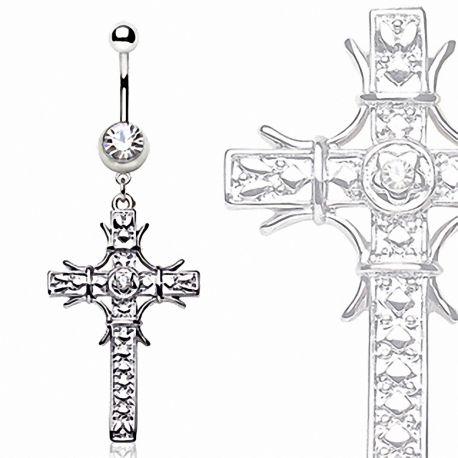 Piercing nombril croix pavée de gemmes