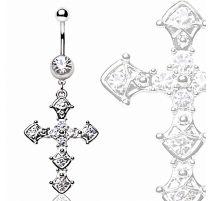 Piercing nombril croix pavée de strass