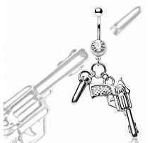 Piercing nombril pistolet et balle