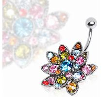Piercing nombril fleur de lotus multicolore