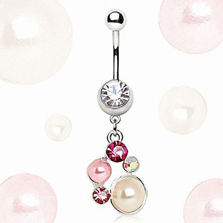 Piercing nombril pendentif perles