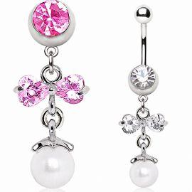 Piercing nombril pendentif noeud et perle