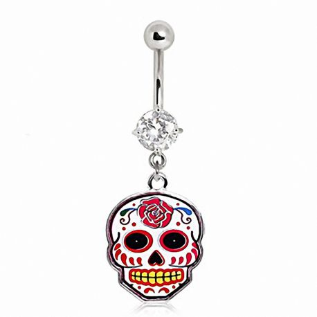 Piercing nombril sugar skull rose
