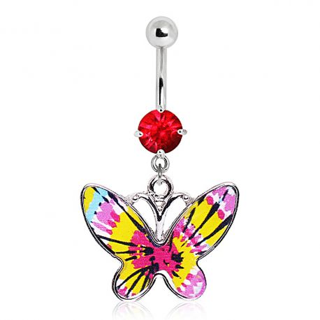Piercing nombril papillon tie & dye rouge