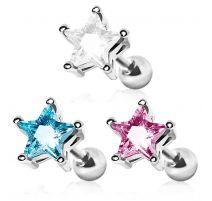 Piercing cartilage hélix gemme étoile