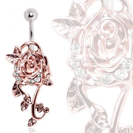 Piercing nombril floral or rose