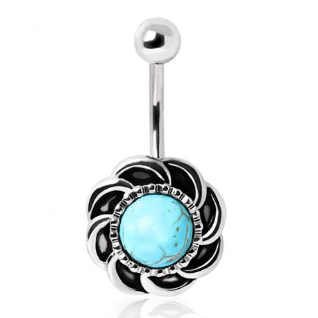 Piercing nombril antique turquoise