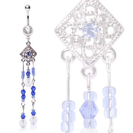 Piercing nombril rectangulaire chaines perles