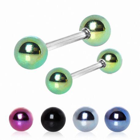 Piercing téton barbell boules colorée