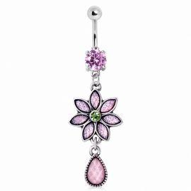 Piercing nombril fleur opale rose