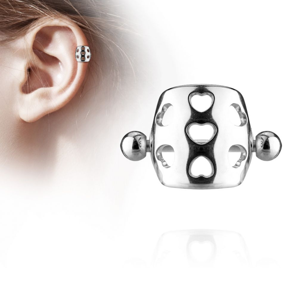 piercing oreille helix cartilage barbell bouclier coeurs. Black Bedroom Furniture Sets. Home Design Ideas