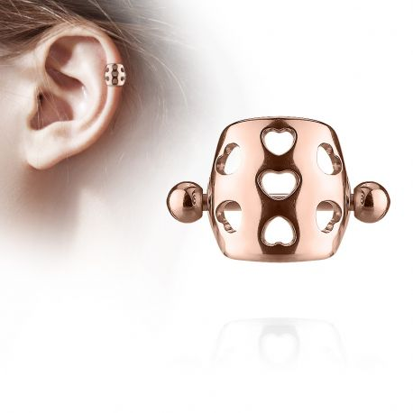 Piercing Oreille Helix Cartilage Barbell Bouclier Coeurs Or Rose