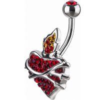 Piercing nombril Crystal Evolution Swarovski Coeur Sacré