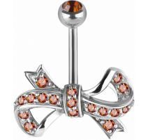 Piercing nombril Swarovski Zirconia Ruban rouge