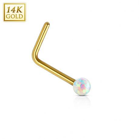 Piercing nez Or jaune 14 carats opale blanc tige en L
