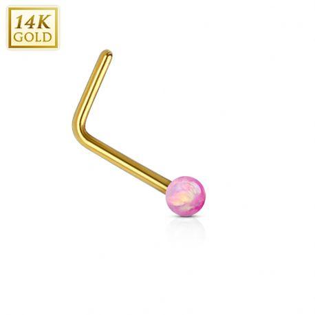 Piercing nez Or jaune 14 carats opale rose tige en L