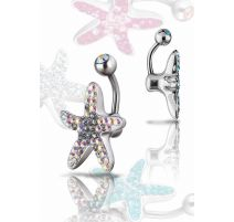 Piercing nombril Crystal Evolution Swarovski Etoile de mer Titane G23