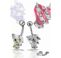Piercing nombril Crystal Evolution Swarovski Coeur fil barbelé