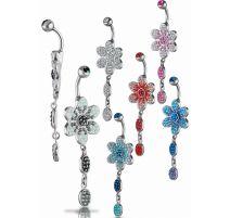 Piercing nombril Crystal Evolution Swarovski Fleur pendentif