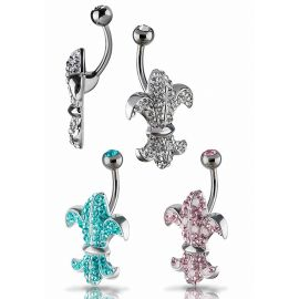 Piercing nombril Crystal Evolution Swarovski Fleur de lys