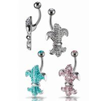 Piercing nombril Crystal Evolution Swarovski Fleur de lys