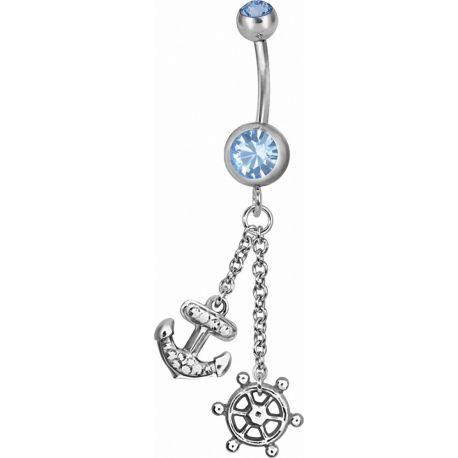 Piercing nombril Swarovski Ancre marine et barre bleu clair
