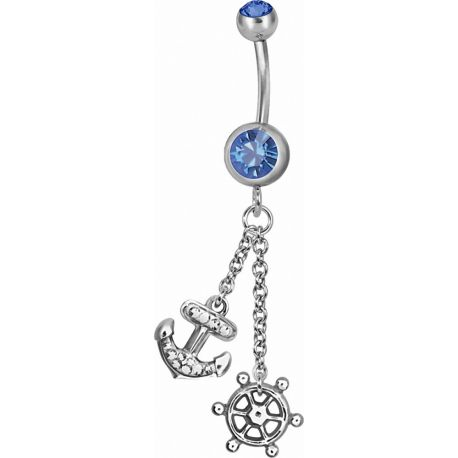 Piercing nombril Swarovski Ancre marine et barre bleu