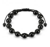 Bracelet Shamballa avec billes métalliques noires