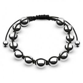 Bracelet Shamballa avec billes métalliques argentées