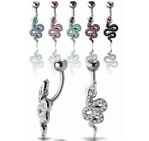 Piercing nombril Crystal Evolution Serpent Zirconia Swarovski