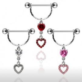 Piercing Téton Bouclier Double Coeurs
