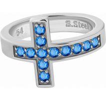 Bague acier croix Swarovski Zirconia bleu