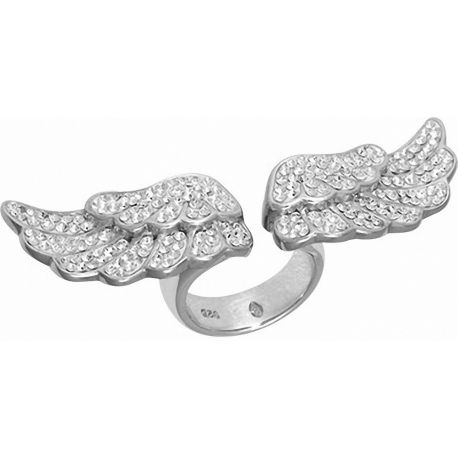Bague acier ailes d'ange Swarovski blanc