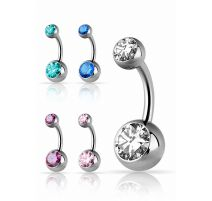 Piercing nombril titane G23 double Swarovski Zirconia