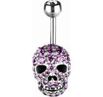 Piercing nombril skull Swarovski rose