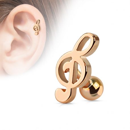Piercing Cartilage Tragus Clef de Sol Or Rose