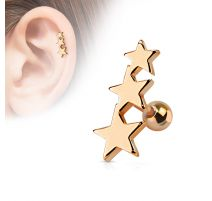 Piercing Oreille Helix Tragus Etoiles Or Rose