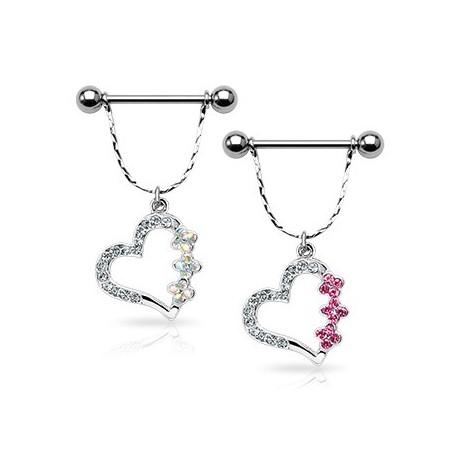 Piercing Téton Bouclier Coeur Fleurs Gemmes - Bijou Piercing Téton