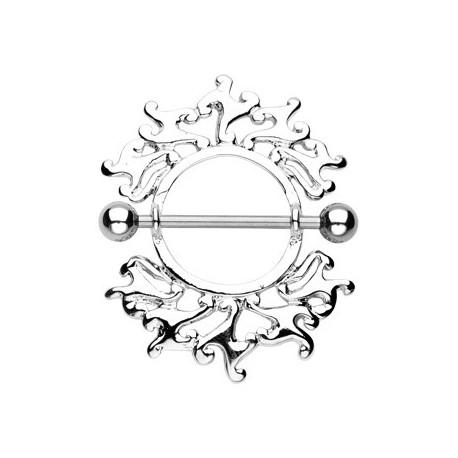 Piercing Téton Bouclier Flamme Tribale - Bijou Piercing Téton