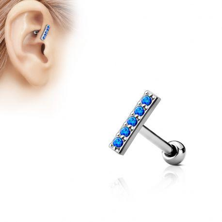 Piercing oreille cartilage barre 5 opales bleues