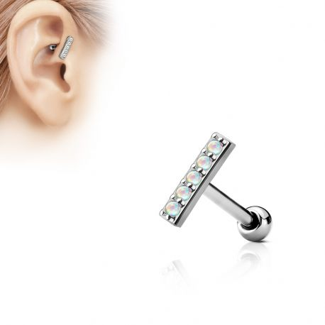 Piercing oreille cartilage barre 5 opales blanches