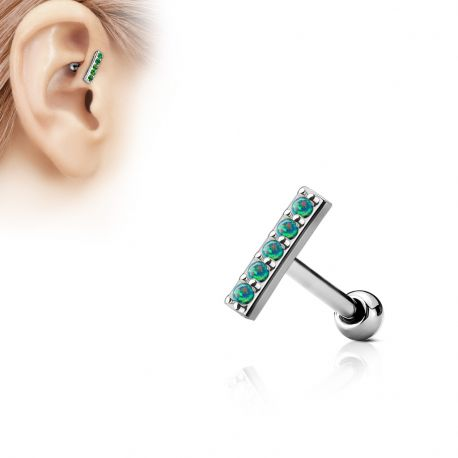 Piercing oreille cartilage barre 5 opales vertes